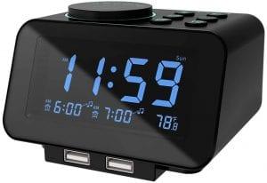 USCCE Dimmer Dual USB Charging Digital Alarm Clock Radio